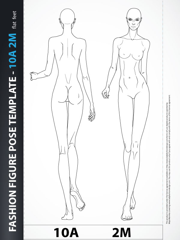 Fashion Design Drawing Catwalk Front Back 10a2m Lady Fashion Design