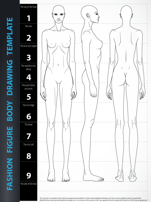 Image of Fashion Figure Drawing Template