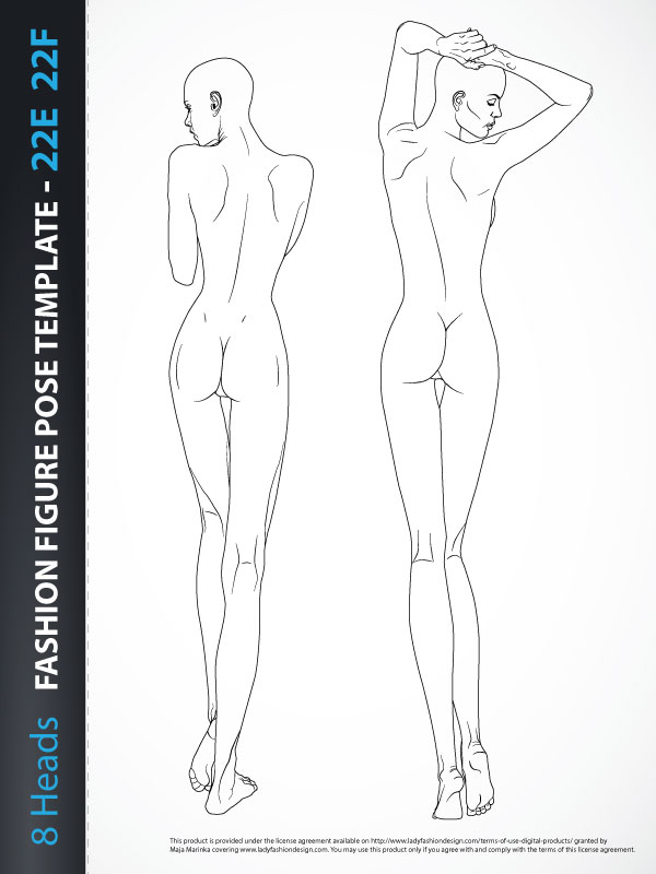 Fashion Design Templates | 8 Heads Fashion Figure Template Back 22e 22f Lady Fashion Design