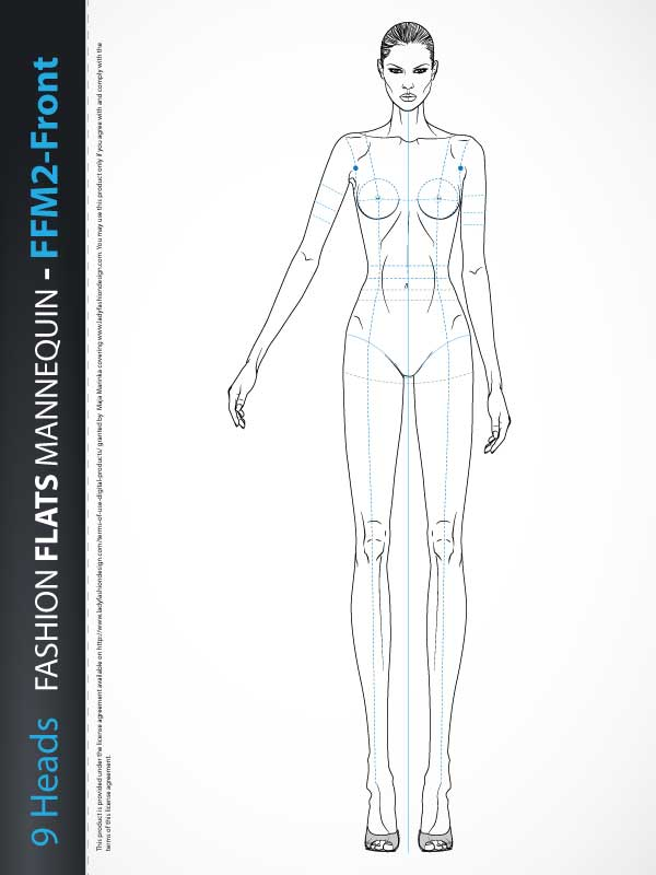 Fashion Technical Drawing Mannequin Ffm2 Front Lady Fashion Design