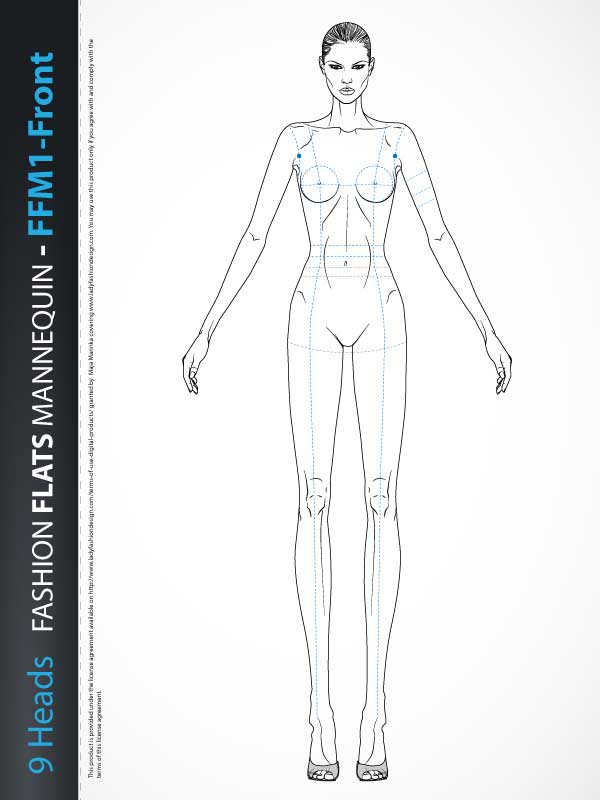 Fashion Technical Drawing Mannequin Ffm1 Front Lady Fashion Design
