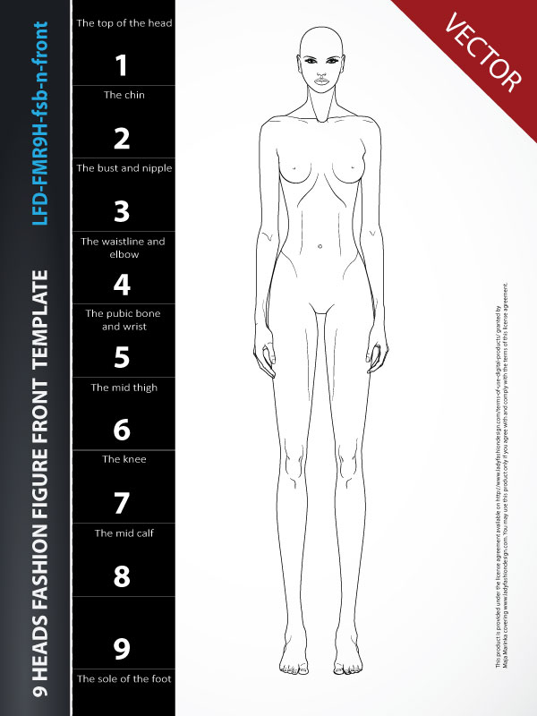 Fashion Drawing Mannequin Template - Front