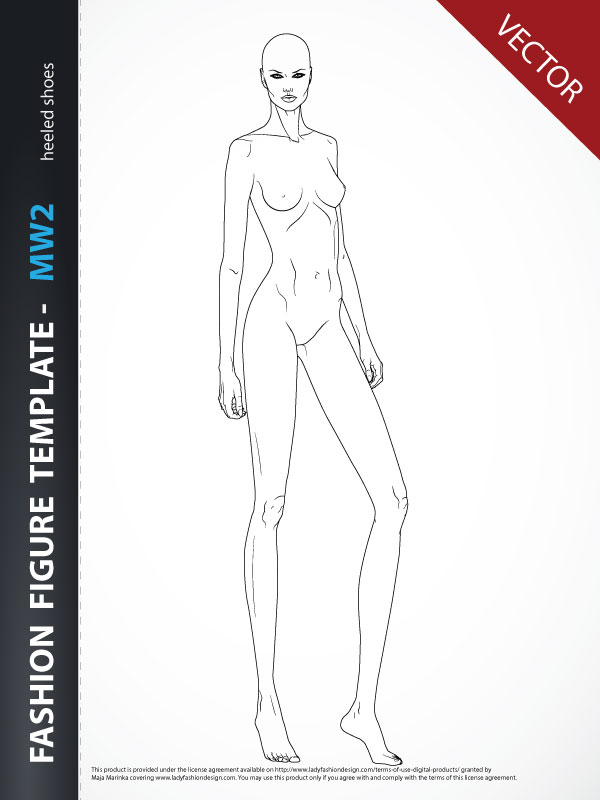 fashion figure template three-quarter view
