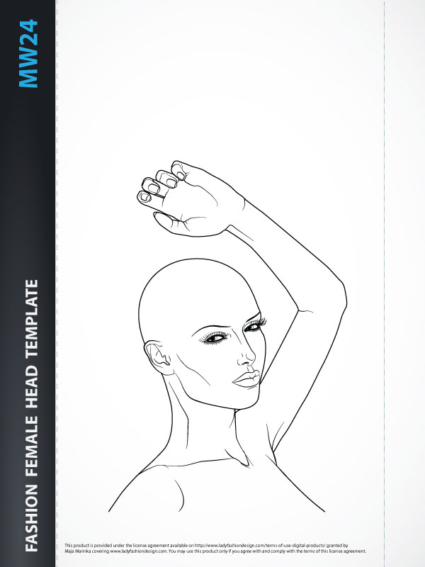 Female Head Template for Fashion Hairstyle