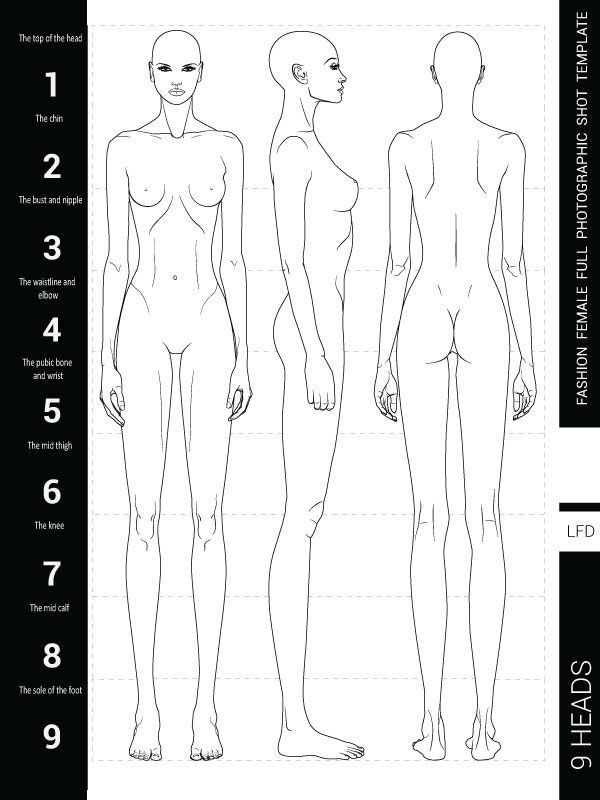 PDF BOOK No.1  - Female figure templates for fashion design