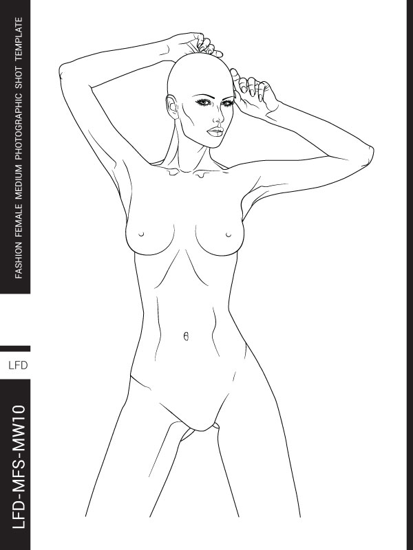 Female figure templates for fashion design - UPPER BODY