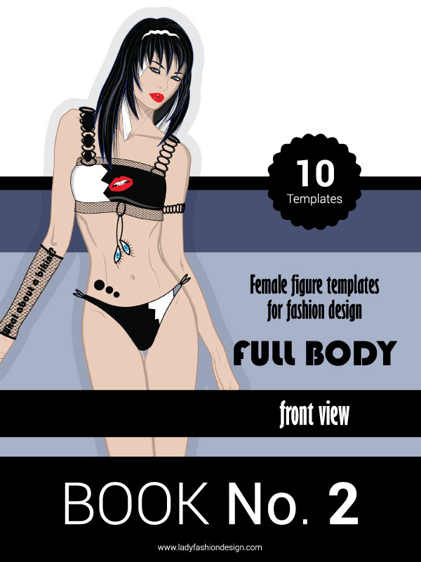 PDF BOOK No.2  - Female figure templates for fashion design - FULL BODY