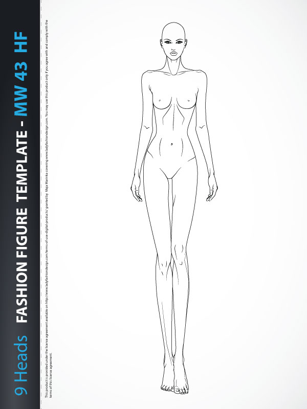 9 Heads Fashion Figure Template