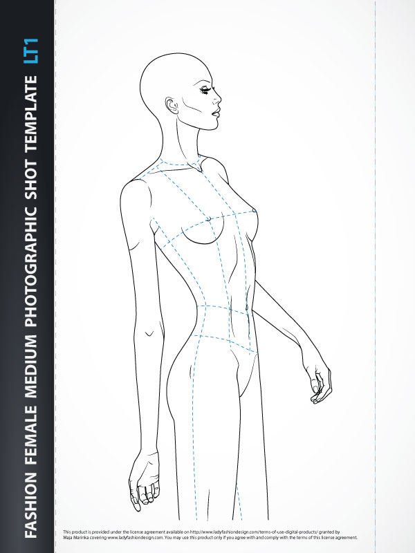 Fashion Template - Female Bodice from the Three-quarter Front view for Fashion